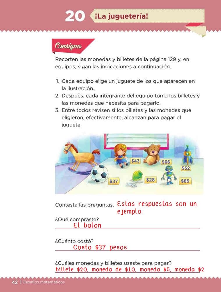 Libro de textoDesafíos Matemáticos¡La juguetería!Primer gradoContestado