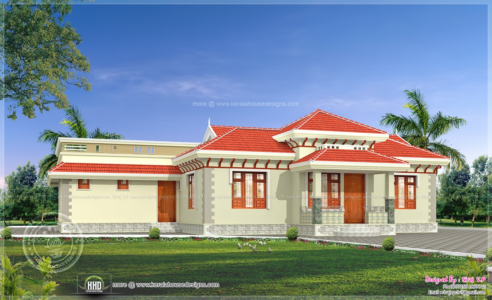 4 bedroom traditional kerala style home kerala home for Single floor 4 bedroom house plans kerala