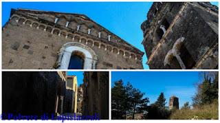 Particolari esterni e il campanile del Duomo di Casertavecchia e la sua vista dal Castello