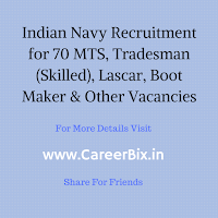 Indian Navy Recruitment for 70 MTS, Tradesman (Skilled), Lascar, Boot Maker & Other Vacancies