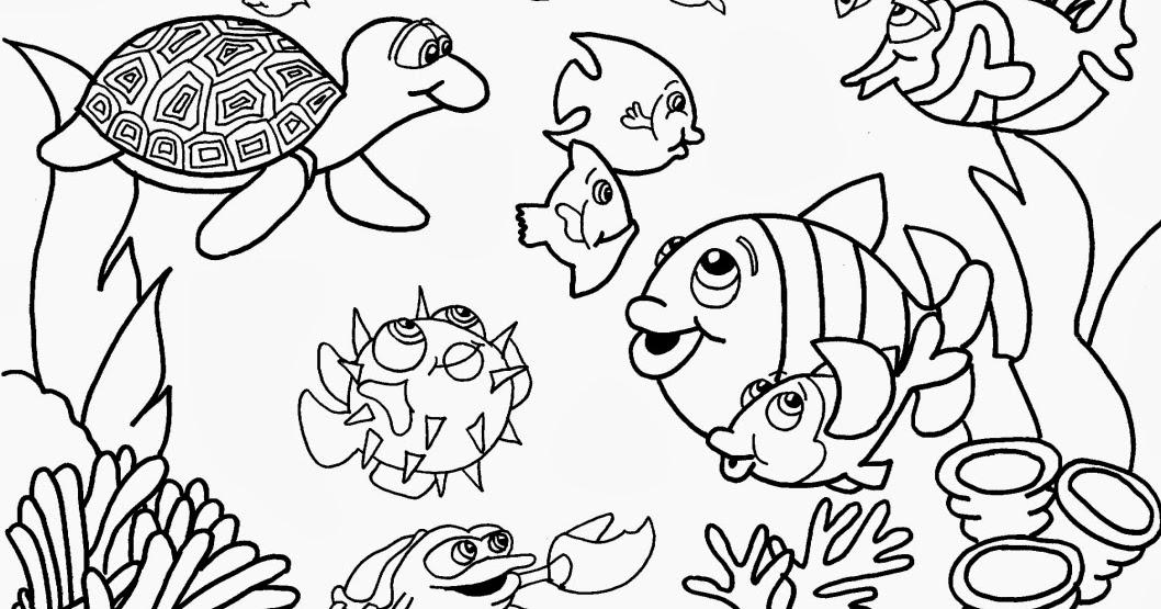 Desenhos De Animais Para Colorir: Desenho De Animais No Fundo Do Mar Para Colorir