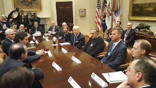 (Image Credit: President Trump meets with auto industry executives days after taking office. (Credit: The White House, public domain) Click to Enlarge.