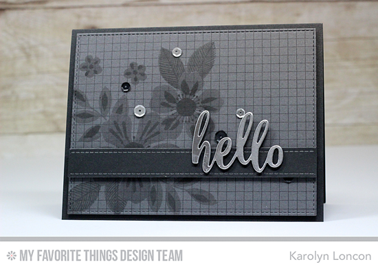 Handmade card from Karolyn Loncon featuring Flashy Florals stamp set, Grid Background stamp, Thanks & Hello, Blueprints 1, and Blueprints 15 Die-namics  #mftstamps