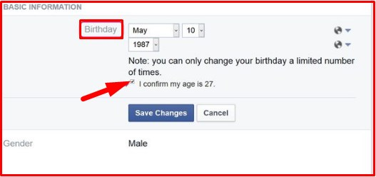 fb date of birth change