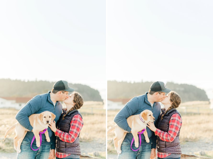 Lab Puppy Surprise Proposal-Beach Engagement Session-Fort Worden Photography by Something Minted