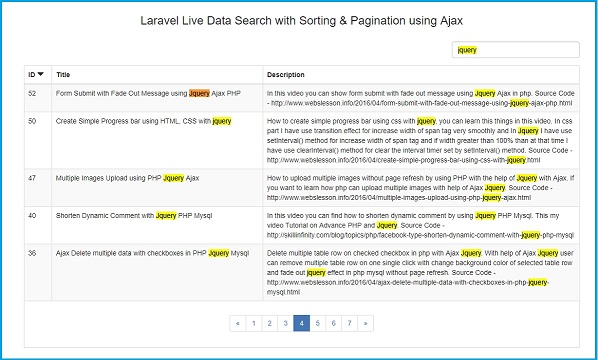 Laravel Searching Column Sorting with Pagination using Ajax