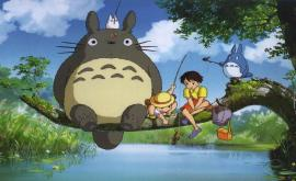Totoro fishing with the children My Neighbor Totoro 1988 animatedfilmreviews.filminspector.com