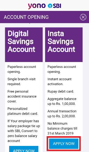 How To Open SBI Insta Saving Account Through SBI YONO App ...