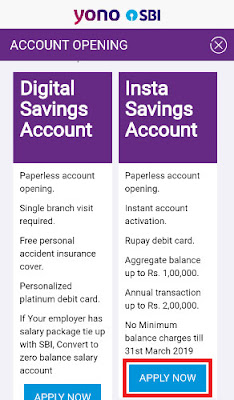 how to open sbi insta account online