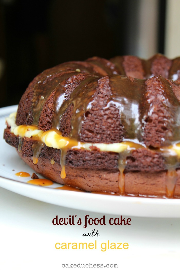 Devil's Food Bundt Cake with Caramel Glaze