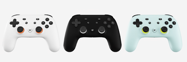 Google Stadia controller colors white black green