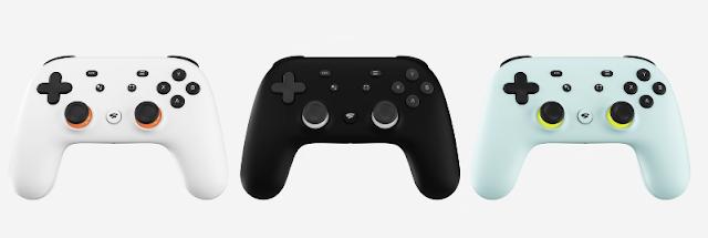 Google Stadia controller colors white black green