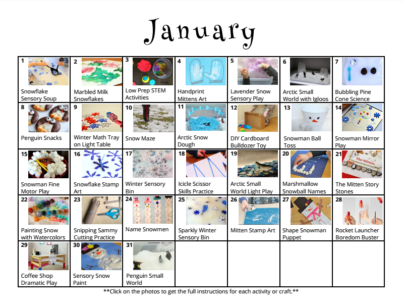 Free printable activity calendars for kids
