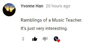 "my weekly ""Ramblings of a Music Teacher"" will continue every Thursday.  I was touched by a comment made by Yvonne Han, on my recent questionnaire about what videos you like on my channel."