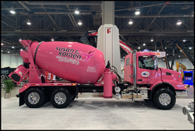 Volvo VHD 300 mixer, part of a fundraising campaign for breast cancer research
