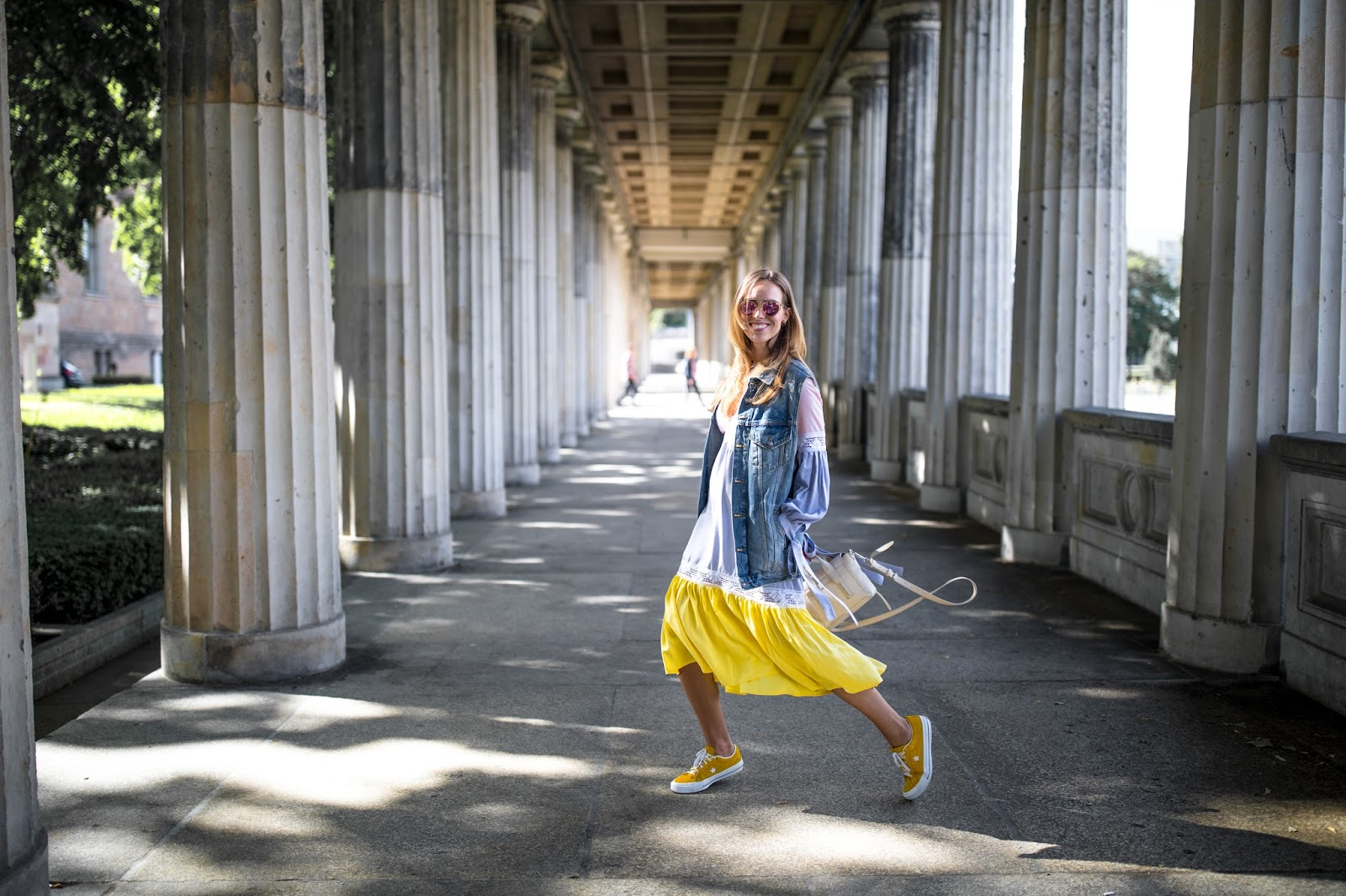 yellow ruffle midi dress summer outfit