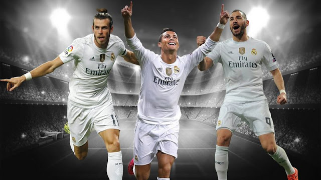 Cristiano Ronaldo, Gareth Bale, Karim Benzema - star forwards of Real Madrid in this Champions League 2016 Final in Milan's San Siro Stadium