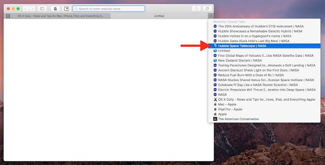 Cara Membuka Tab Baru Ditutup Pada Browser Safari Di OS Mac