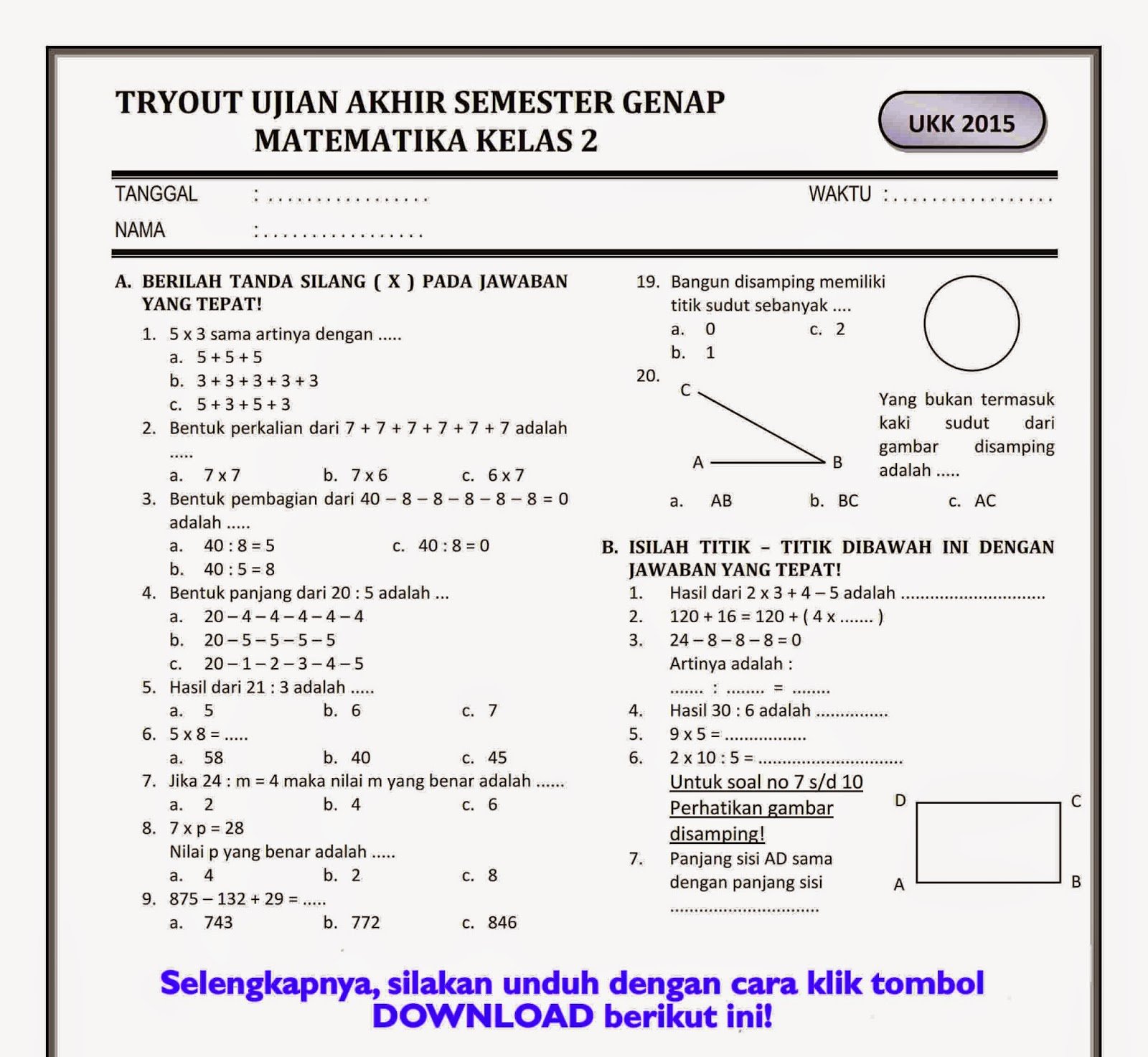 Soal Matematika Sd Kelas 3 Semester 2 Pdf Download