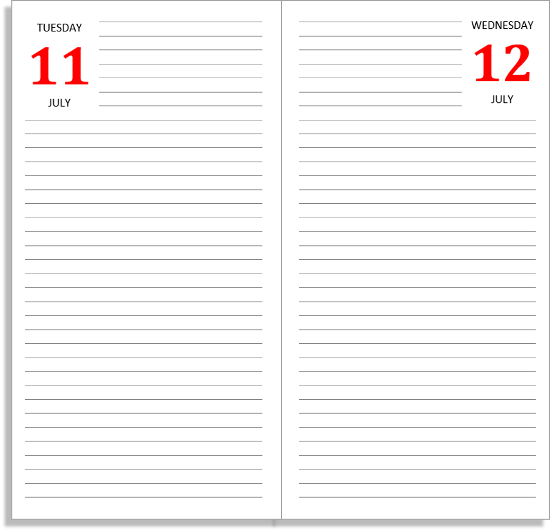 nice and simple this layout gives you a page per day with two months
