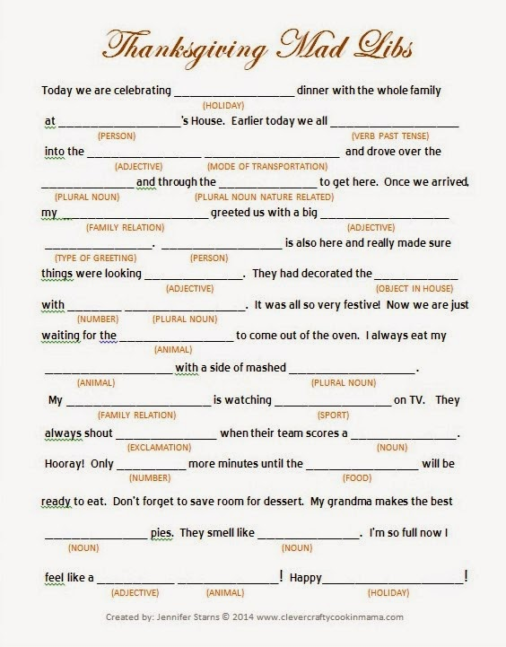 Clever Crafty Cookin Mama Thanksgiving Day Mad Libs