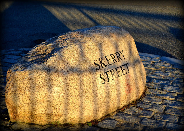 Skerry Street, Salem, Massachusetts, stone, sign, shadow