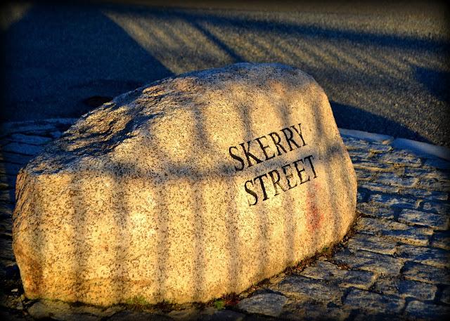 Skerry Street, Salem, Massachusetts, stone, sign, shadow