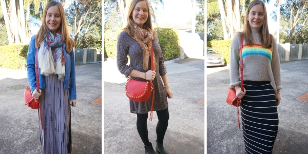 ways to wear red Rebecca Minkoff saddle bag in winter | awayfromblue