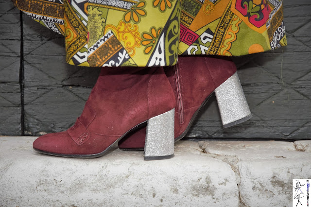 ankle boots con tacco glitterato