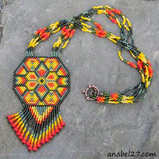 """Летнее колье из бисера """"Индейское солнце"""". Необычное украшение на шею"""