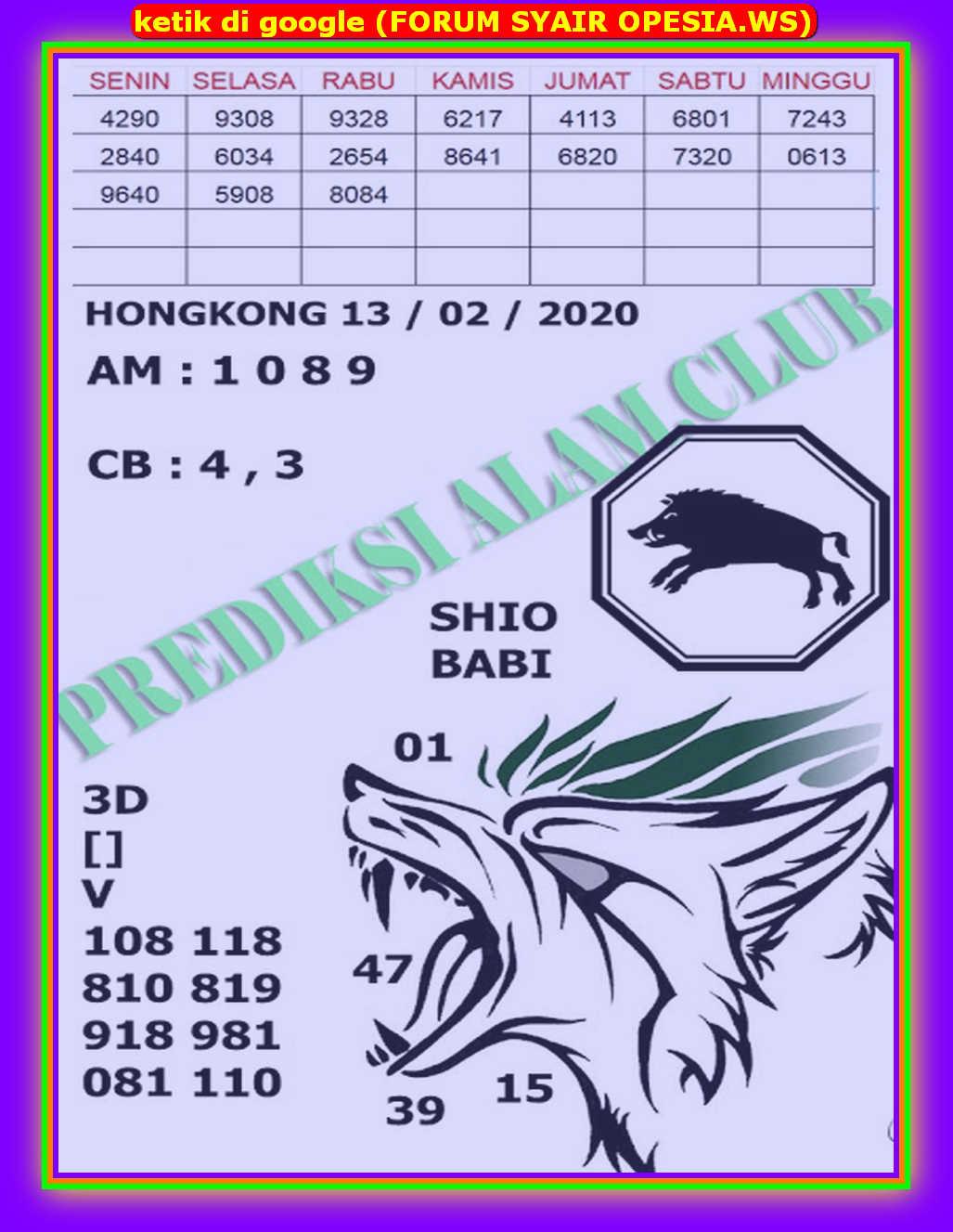 Kode syair Hongkong Kamis 13 Februari 2020 96