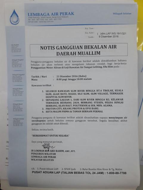 Notis Gangguan Bekalan Air Daerah Muallim