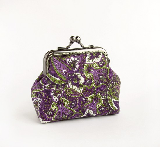 Purple green paisley, purses