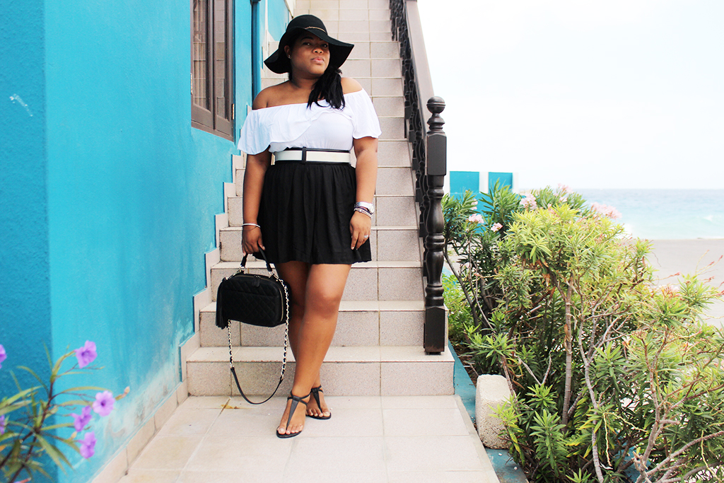 alcott, girly, feminine, shana, fashion, blogger, plus size, curvy, black girl, black blogger, floppy hat, off the shoulder top, how to style, aldo, shoes, rich, expensive, look