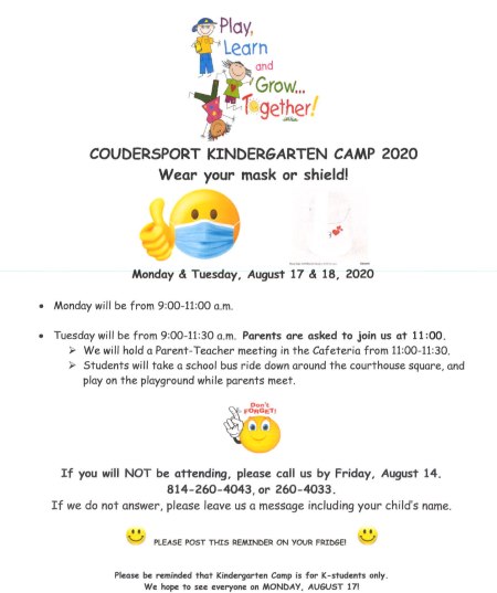 8-17/18 Coudersport Kindergarten Camp