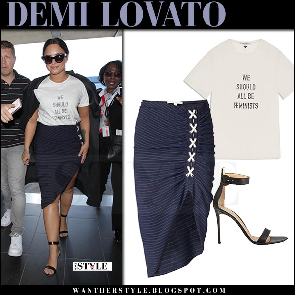 Demi Lovato in white print t-shirt dior feminist and navy striped skirt veronica beard what she wore june 30 2017 street airport style