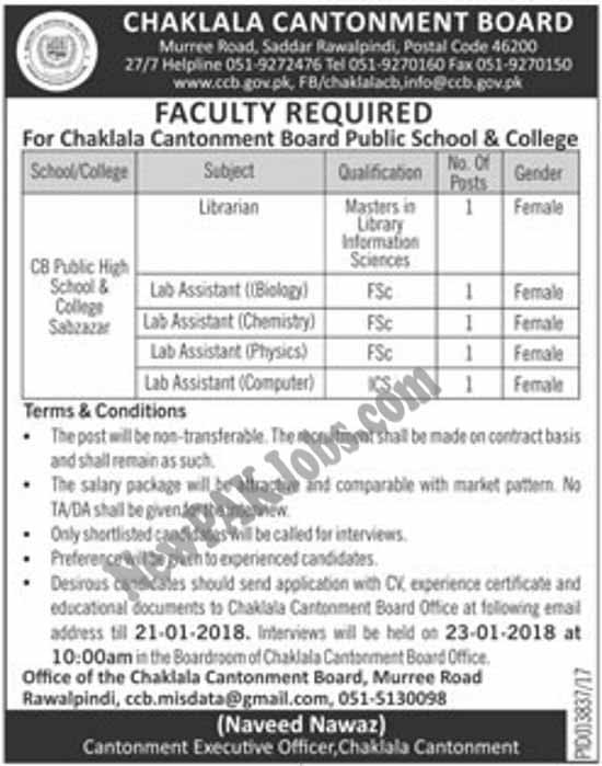 Female Jobs in Chaklala Cantonment Board