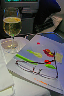 Preflight snacks and champagne aboard Lufthansa A330