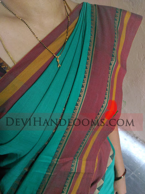 Turquoise color Narayanpet cotton saree,