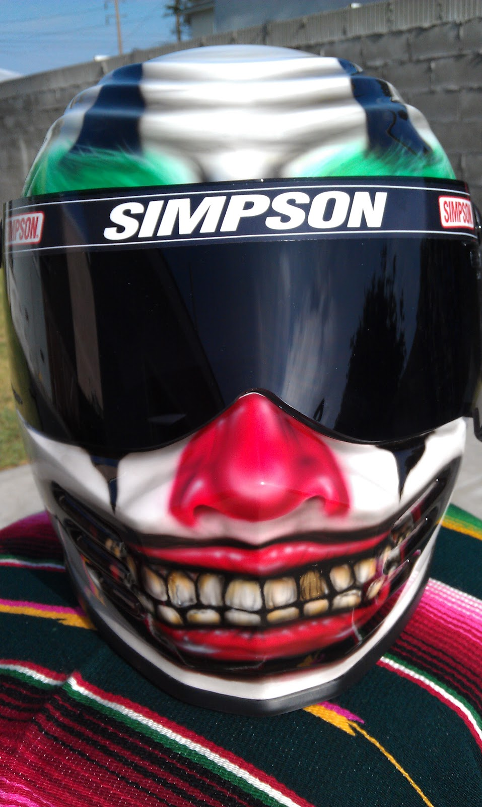 Dan E Boy Paint Crazy Clown Simpson Helmet