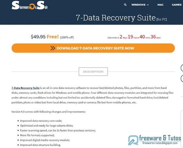 Offre promotionnelle : 7-Data Recovery Suite 4.0 gratuit !