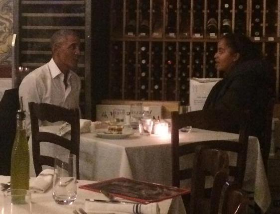 President Obama pictured having dinner with his daughter, Malia, in New York