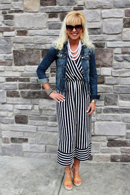 be0736a77c Jumpsuit and a Jean jacket…That s how I wanna roll all Spring!! LOVE this  jumpsuit found for under  20 at TJ Maxx and this jean jacket is my favorite  from ...