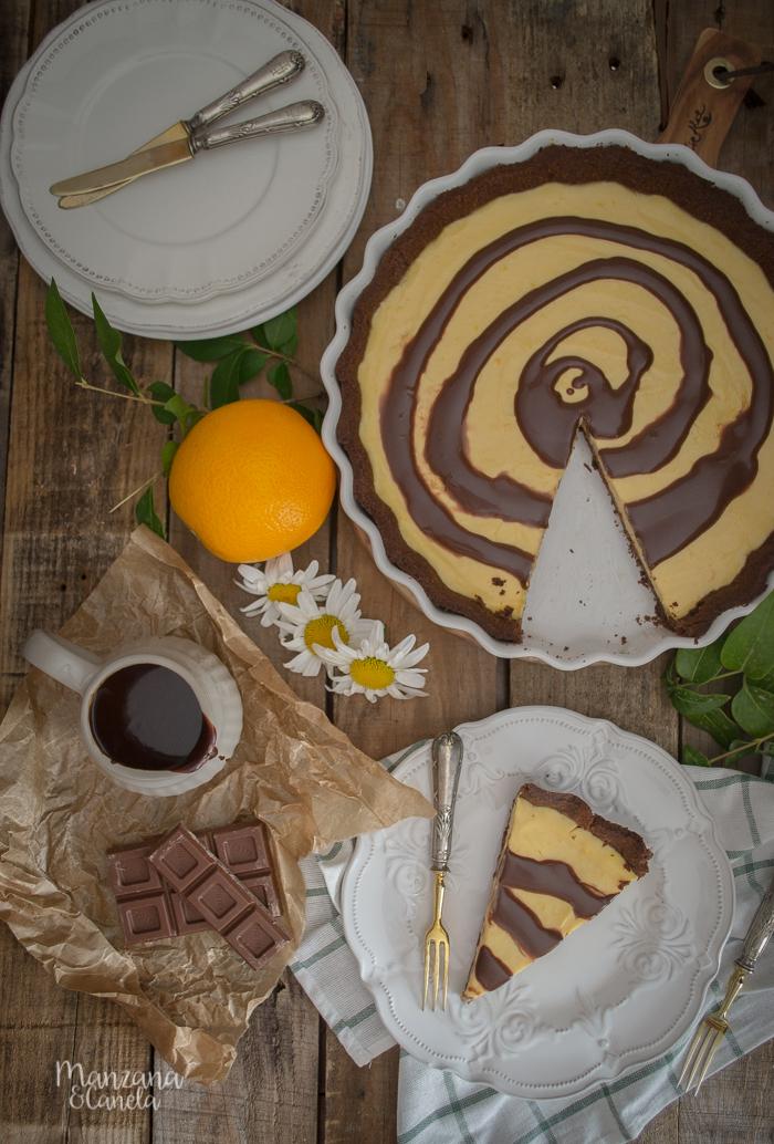 Tarta de naranja y chocolate. Receta con Mesura, sin azúcar refinado.