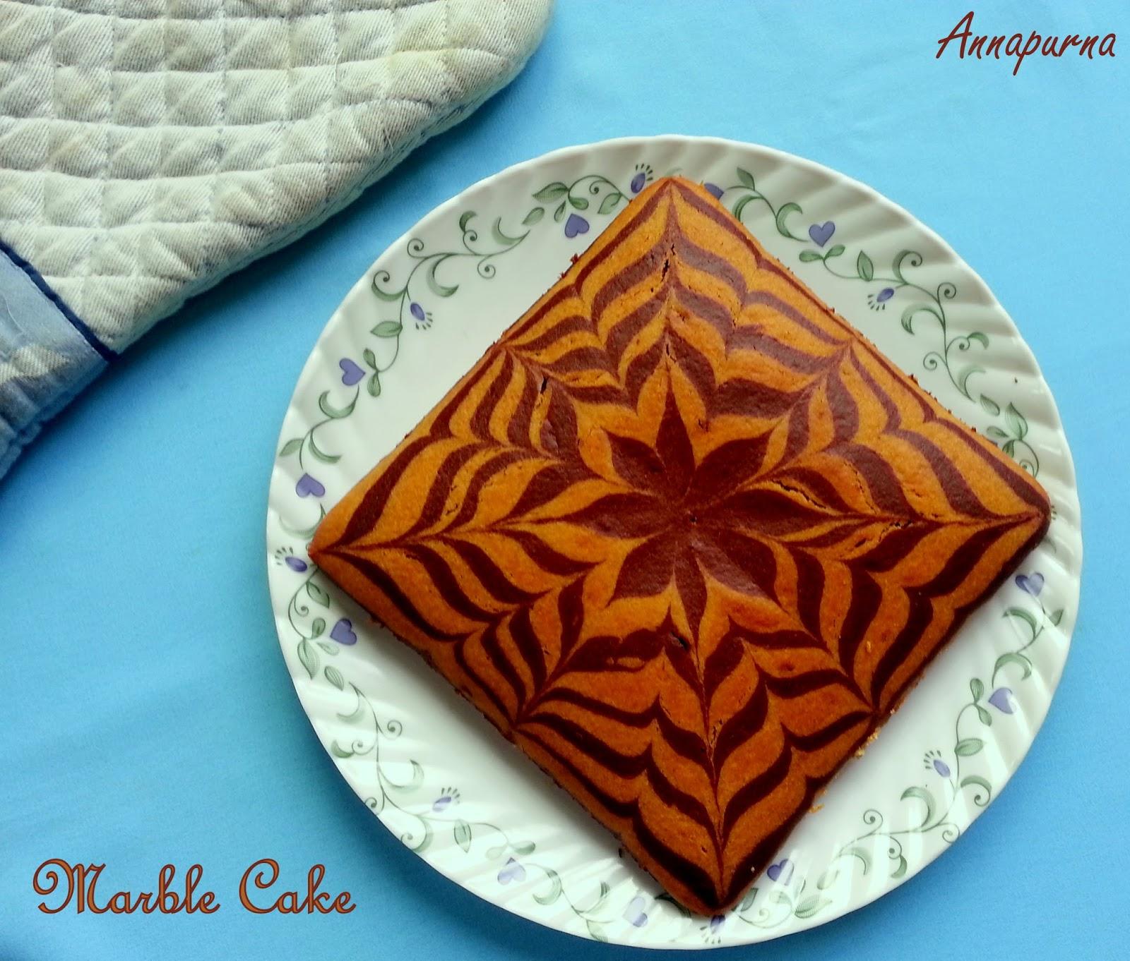 Annapurna Eggless Butterless Marble Cake Zebra Cake Recipe