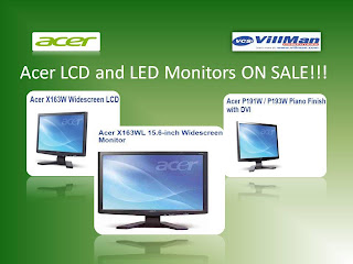 Acer  X163W, Acer X163WL, Acer P193W LCD and LED Monitors on Sale
