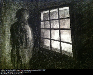 A black and white charcoal drawing of a shadowy figure in a dark room facing a window frame. The other side of the window is much brighter.