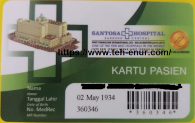 Kartu berobat pasien RS. Santosa Bandung