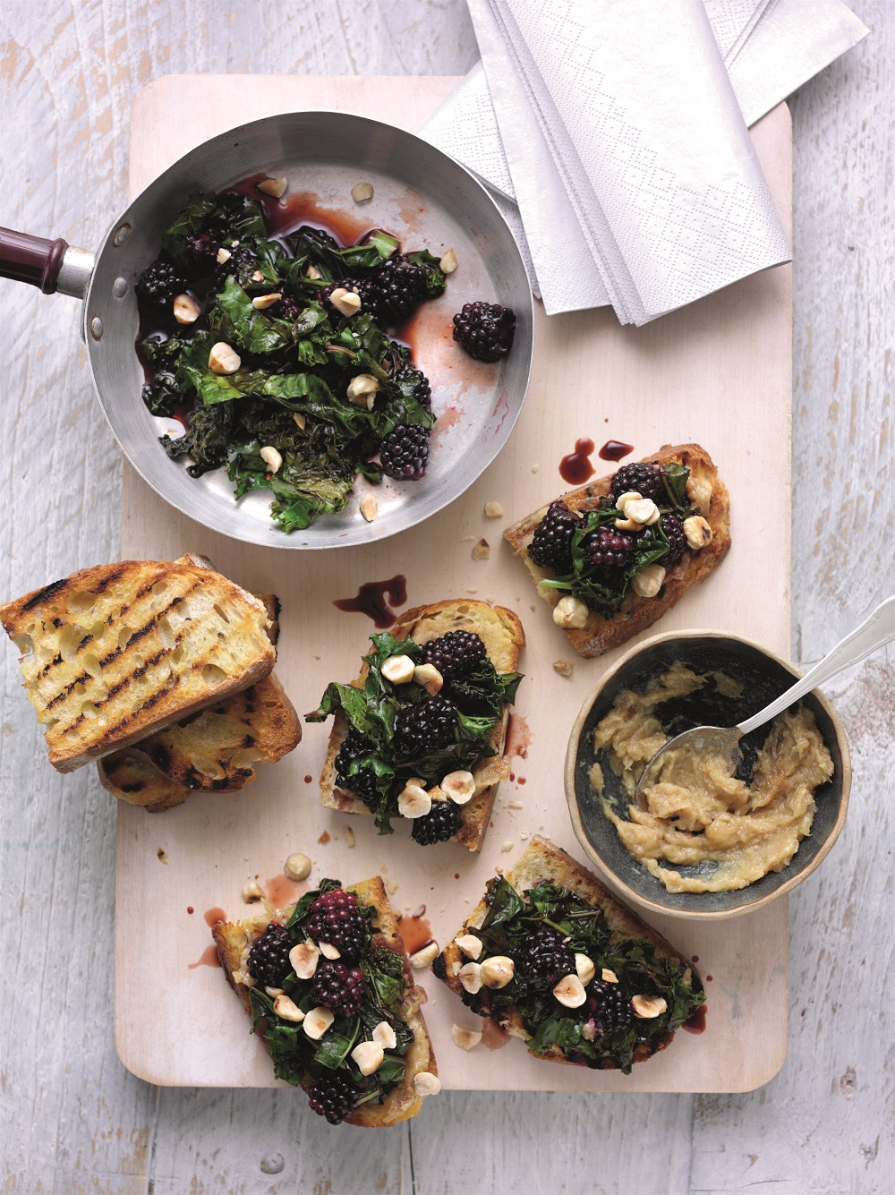 Superberry Kale And Roasted Garlic Bruschetta