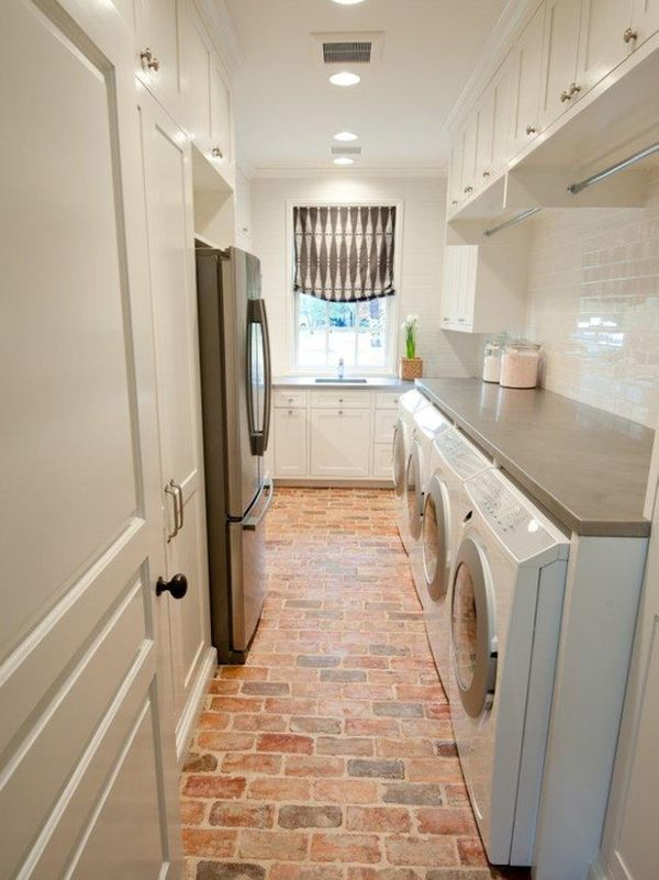 Brick flooring in laundry room